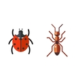 insect ladybug and ant icon flat set isolated vector image