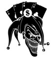 joker angry jester in cap black silhouette vector image vector image