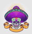 mexican sugar skull with banner vector image vector image