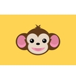 monkey smile close up face with yellow background vector image