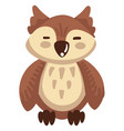 owl bird with closed eyes night bird with plumage vector image