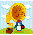 penguin with a gramophone vector image vector image
