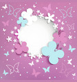 Pink background with butterflies on the frame vector image vector image
