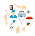 plastic surgeon icons set in flat style vector image