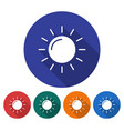 round icon of sun sunny weather flat style with vector image vector image