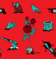 seamless pattern with scary cartoon pictures vector image