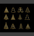 set hand drawn sketch golden christmas tree vector image vector image