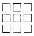 set of square frames drawn by black ink brushes vector image