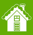 small snowy cottage icon green vector image vector image