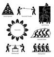 team building activities artwork depicts team vector image vector image