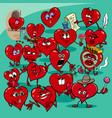 valentine hearts cartoon love group vector image vector image