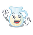 waving jug of milk isolated on mascot vector image vector image