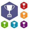 winner cup icons set hexagon vector image vector image
