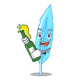 with beer feather mascot cartoon style vector image