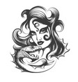 woman head with snake vector image vector image