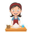 woman kneading dough vector image