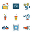 cinema theater icons set cartoon style vector image