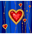 jewel heart blue vector image