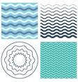 Set wave pattern and wavy circle vector image
