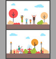 autumn walking in park active and relax vector image vector image