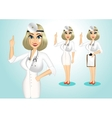 beautiful realistic doctor giving a thumbs up vector image vector image