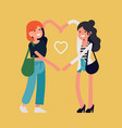 best friends girls make heart shape with their vector image