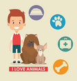 boy with dogs characters vector image vector image