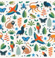 bright colorful tropical jungle seamless pattern vector image vector image