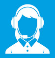 business woman with headset icon white vector image vector image