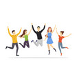 cartoon characters group of people jumping set vector image vector image