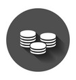 coins stack icon in flat style coin cash with vector image