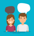 couple with speech bubbles characters vector image