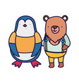 cute bear and penguin with clothes cartoon vector image