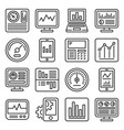 dashboard with graphs and charts icons set line vector image vector image