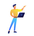 developer standing with laptop and pointing with vector image vector image