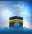 eid al adha mubarak with hajj kaaba and mosque vector image vector image