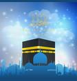 eid al adha mubarak with hajj kaaba and mosque vector image