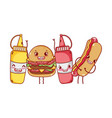 fast food cute burger hot dog mustard sauces vector image vector image