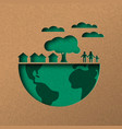 green world papercut concept with eco city vector image vector image