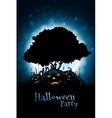 Halloween Background with Pumpkin and Tree vector image vector image