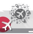 Hand drawn airplane icons with icons background vector image