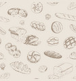 hand drawn bakery and bread seamless pattern vector image