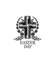 happy easter cross and laurel wreath icon vector image vector image