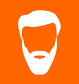 head with beard and hair white icon vector image vector image