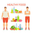 healthy food poster and icons vector image