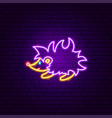 hedgehog neon sign vector image vector image