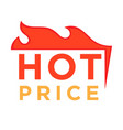 hot price logo design burning fire logotype design vector image vector image