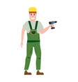industrial construction worker character with with vector image