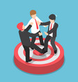 isometric businessmen fighting for standing on vector image