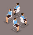 isometric set businessmen sitting on a chair vector image vector image